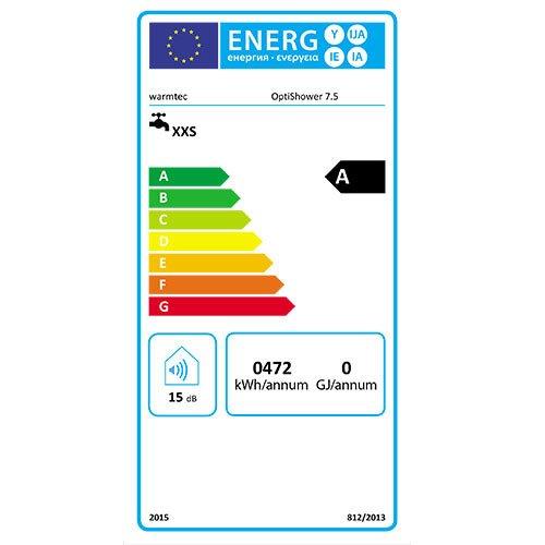 klasa energetyczna A warmtec optishower 7,5 kw