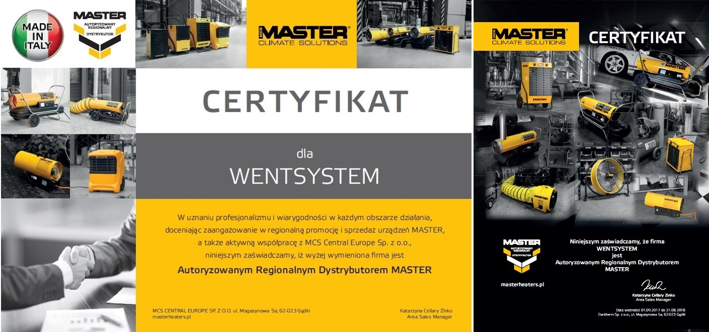 certyfikat wentsystem master