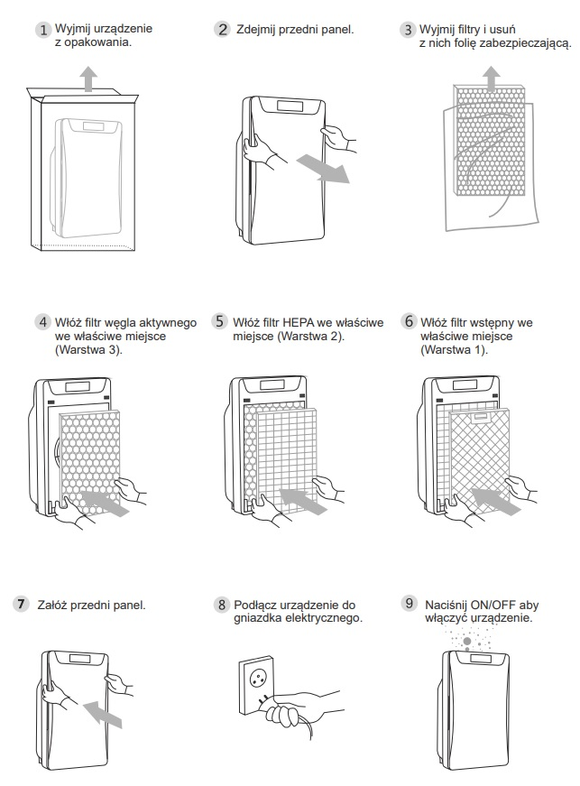 Instalacja oczyszczacza Warmtec AP168W