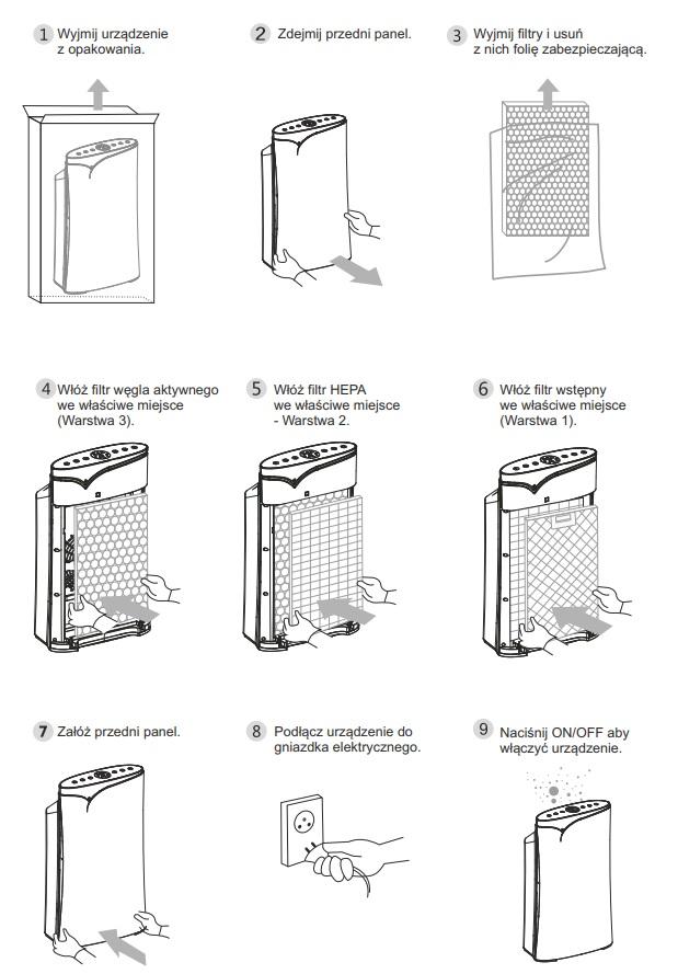 Instalacja oczyszczacza Warmtec AP200W